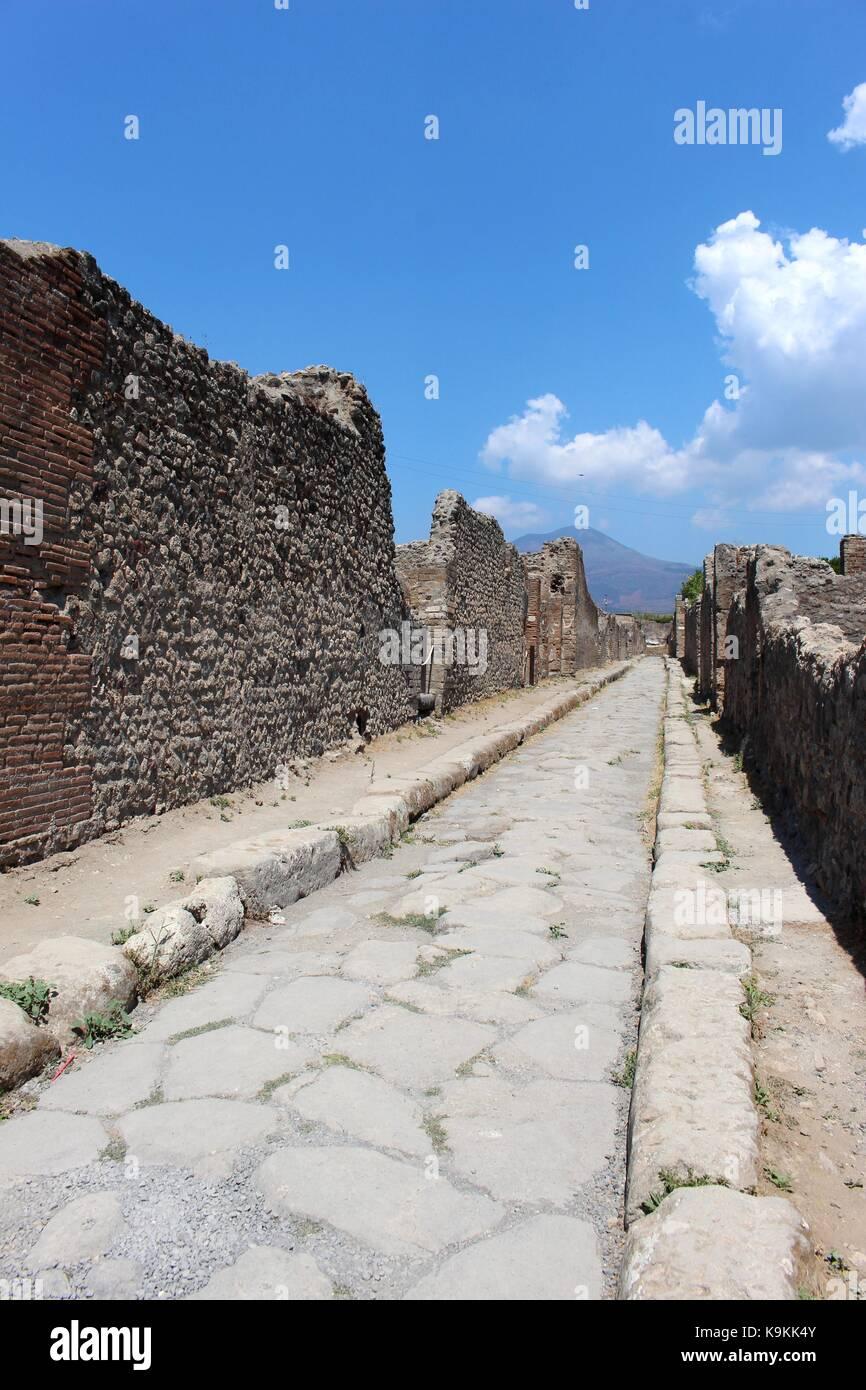 Les rues vides de Pompéi. Photo Stock