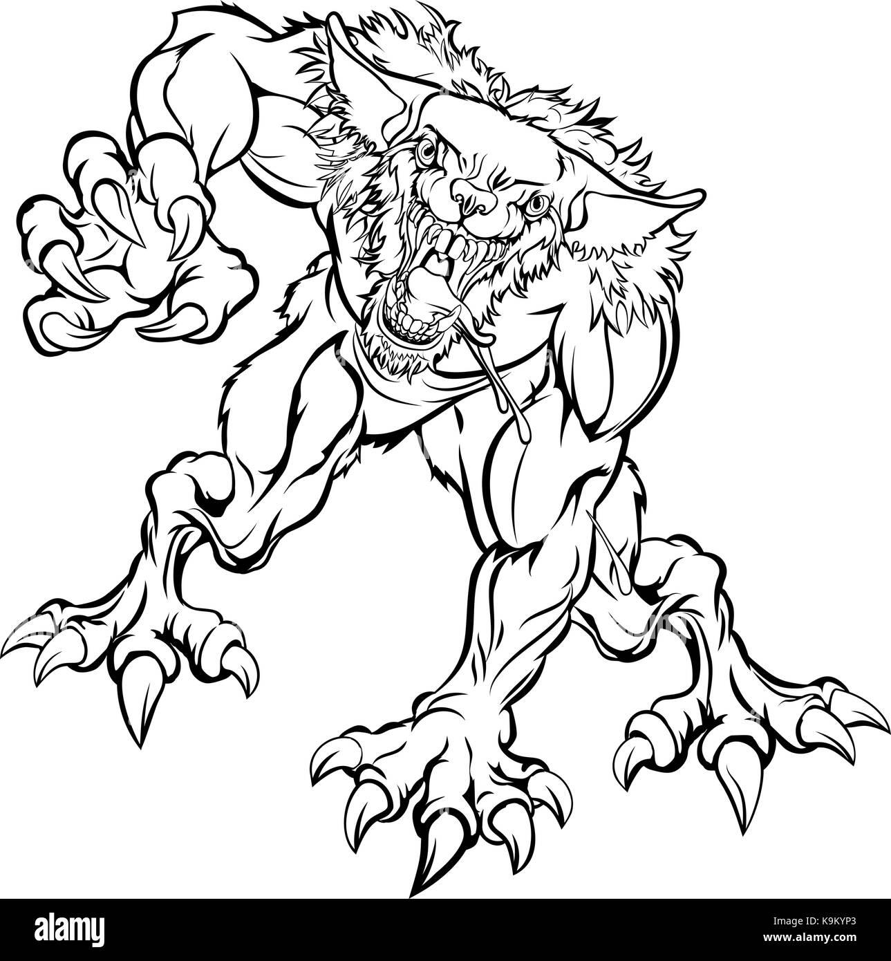 Caractere Effrayant Loup Garou Monster Image Vectorielle Stock Alamy