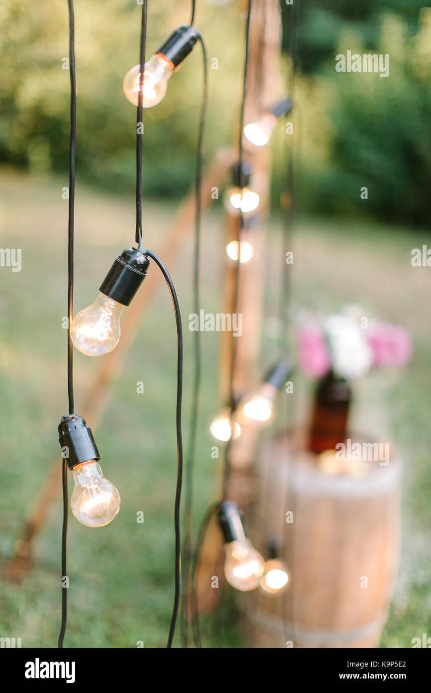 Décoration, Éclairage, concept de mariage. close up de ...