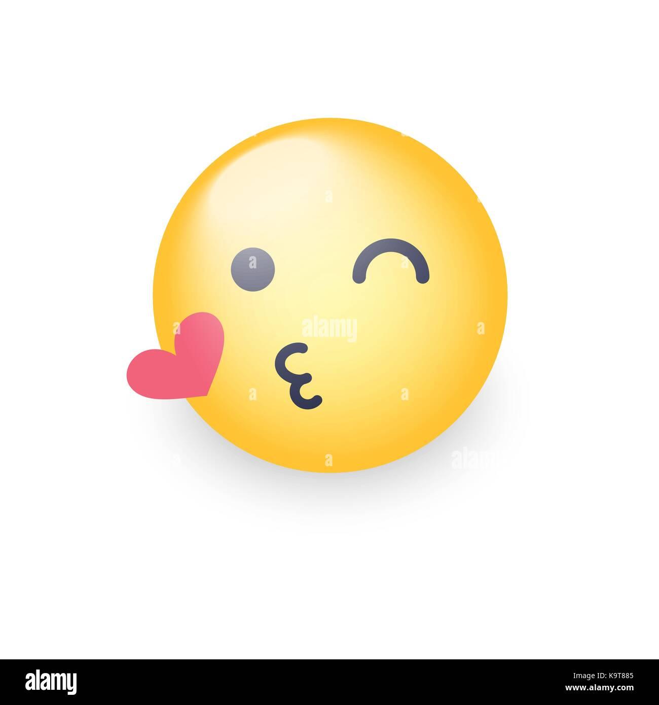 Face Jetant Une Emoticone Clignant Kiss Smiley Avec Un Coeur D Amour Bonne Pour Les Applications Emoji Et Chat Baisers Vector Emoticone Image Vectorielle Stock Alamy