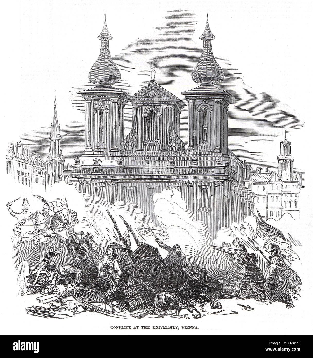 Les conflits à l'Université de Vienne, autrichien de la révolution de 1848 Banque D'Images