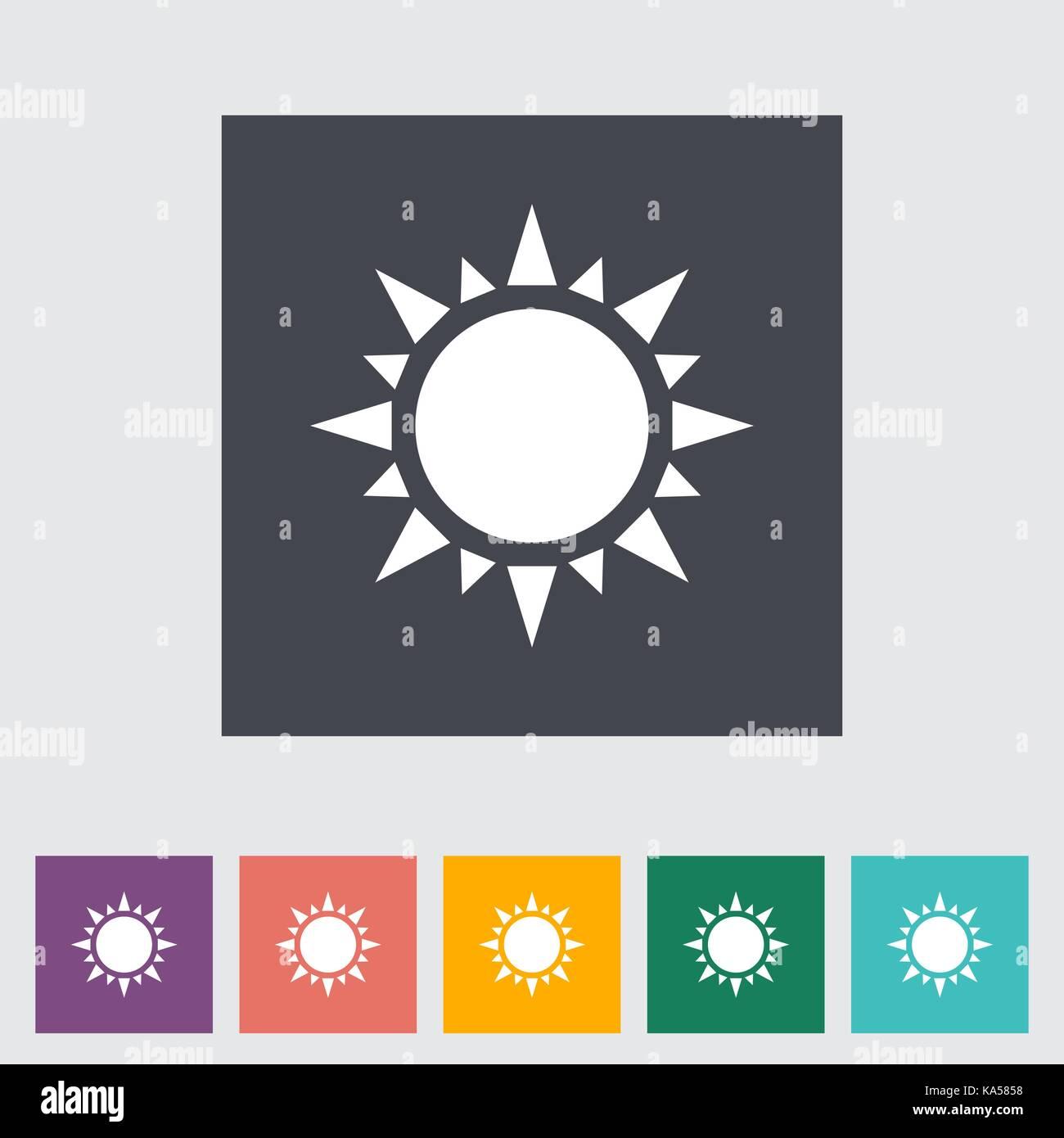 Icône de plat soleil Photo Stock