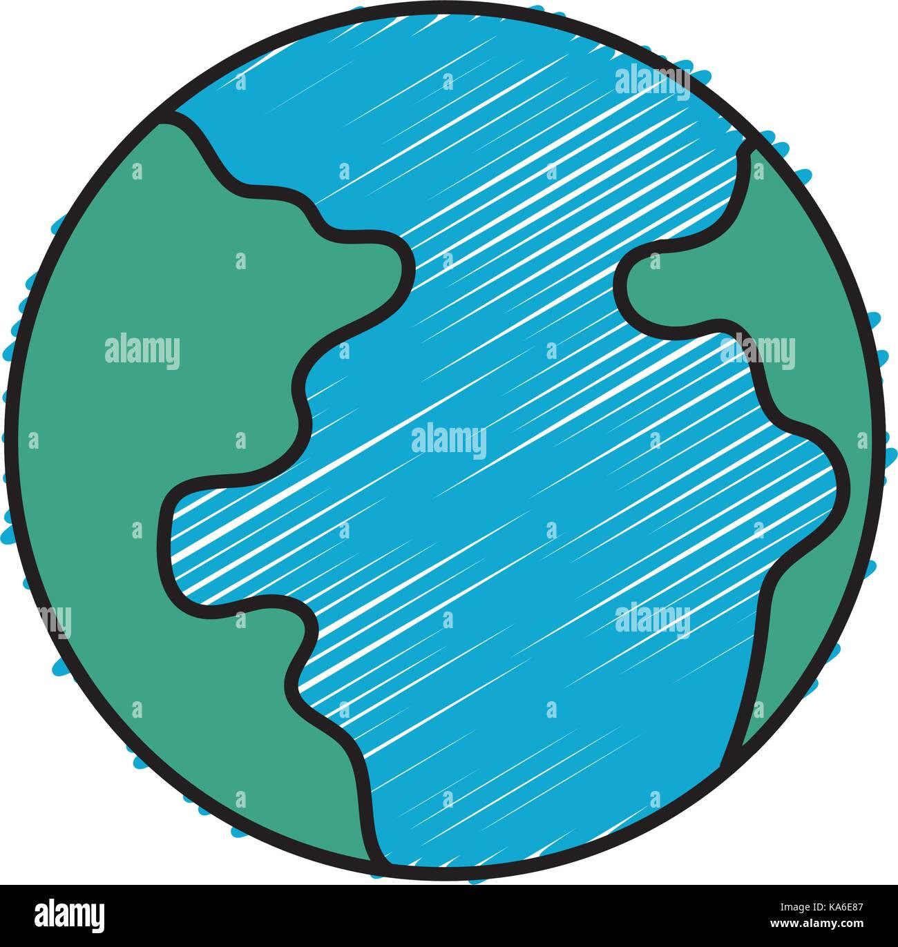 Planète terre avec la géographie carte de l'océan Photo Stock