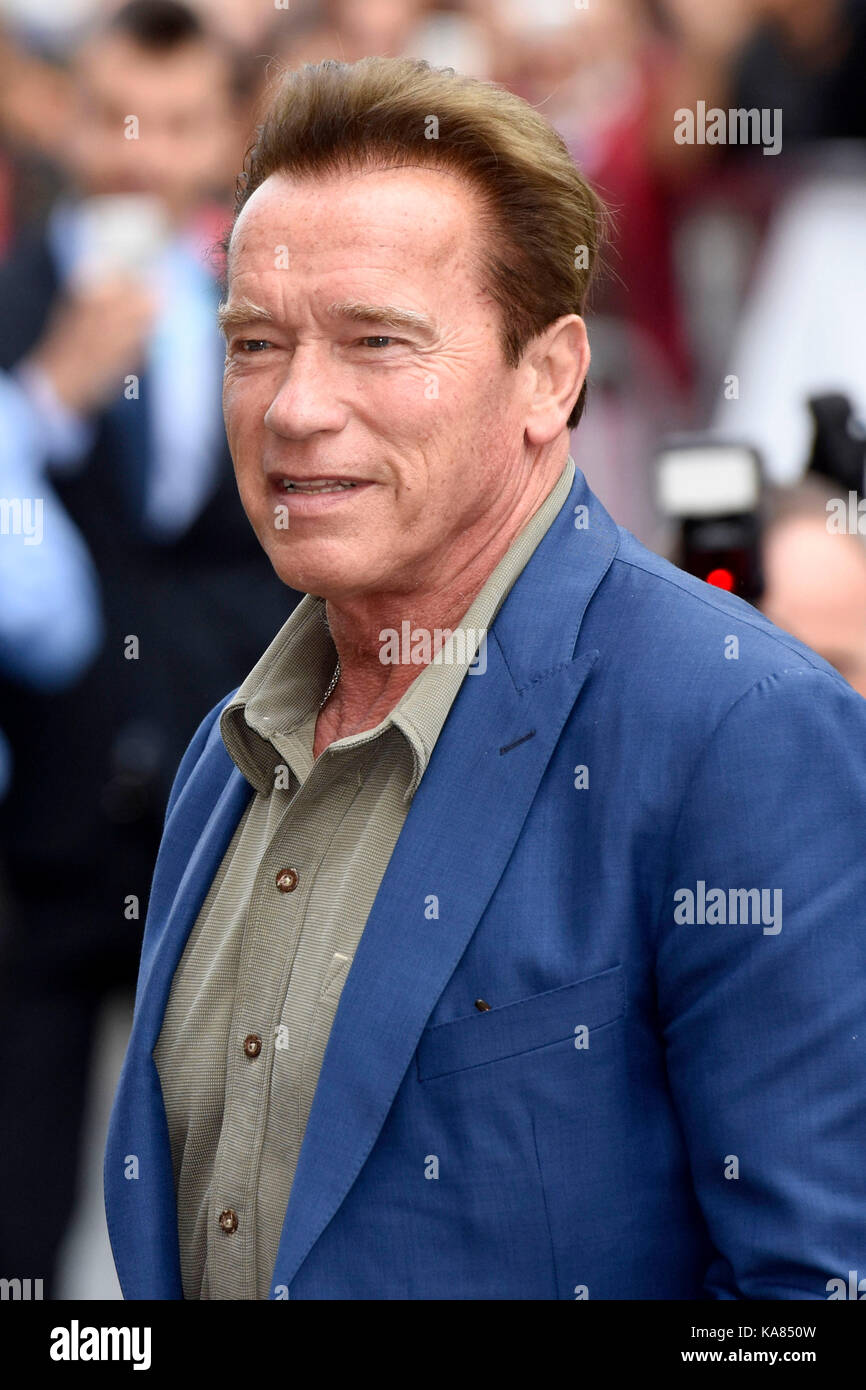 Saint-Sébastien, Espagne. 25 septembre 2017. Arnold Schwarzenegger arrive au 65e Festival du film de San Sebastian Banque D'Images