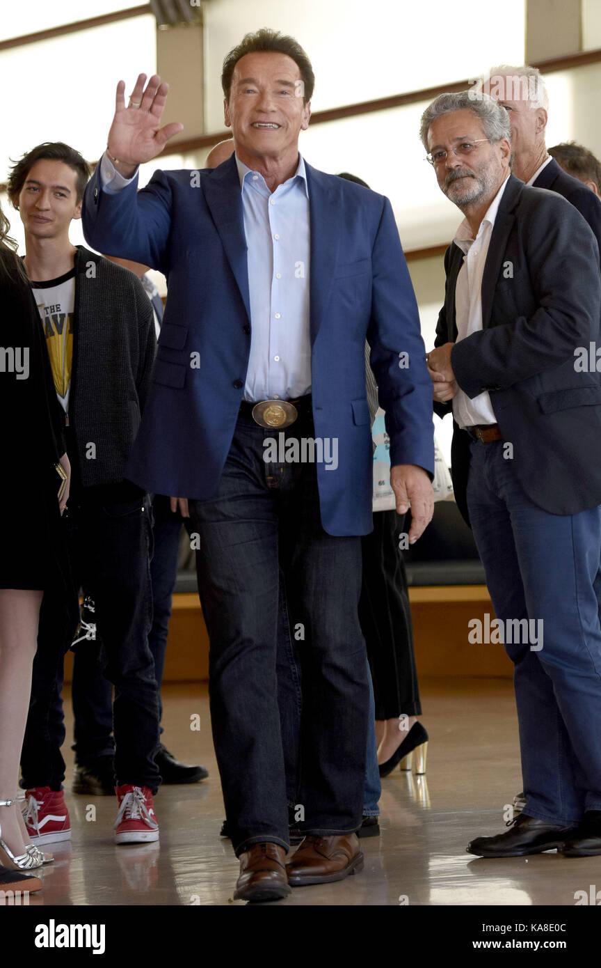 Saint-Sébastien, Espagne. 25 septembre 2017. Arnold Schwarzenegger participe au photocall 'merveille de la mer 3D' Banque D'Images