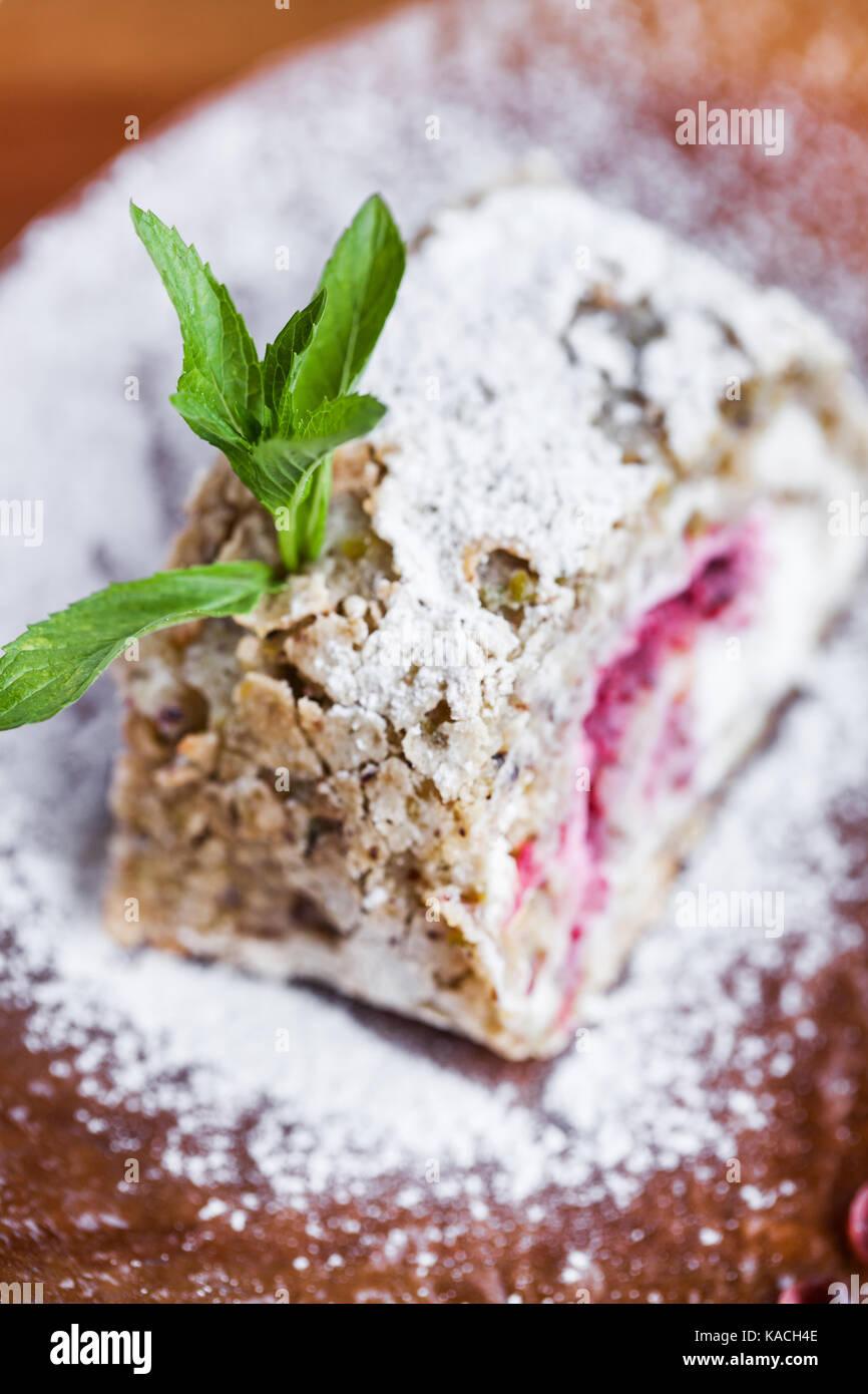 Gâteau frais avec du sucre en poudre Photo Stock