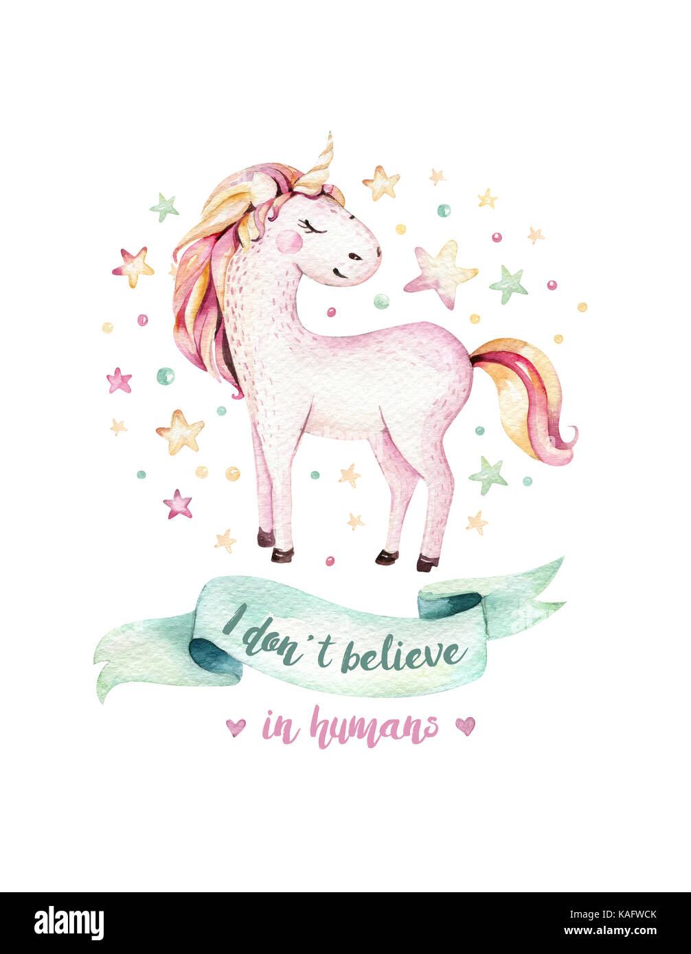 Cute Kids Unicorn Aquarelle Isolés L Affiche De Licornes
