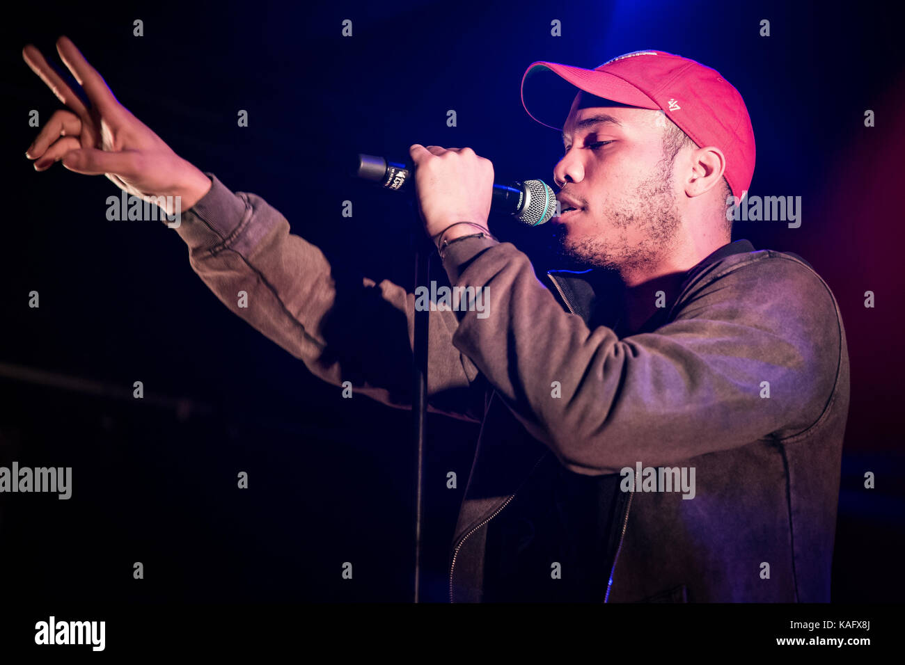 Le rappeur, chanteur et producteur de Anderson (Paak Paak stylisé .Anderson) effectue un concert live au Parkteatret Photo Stock