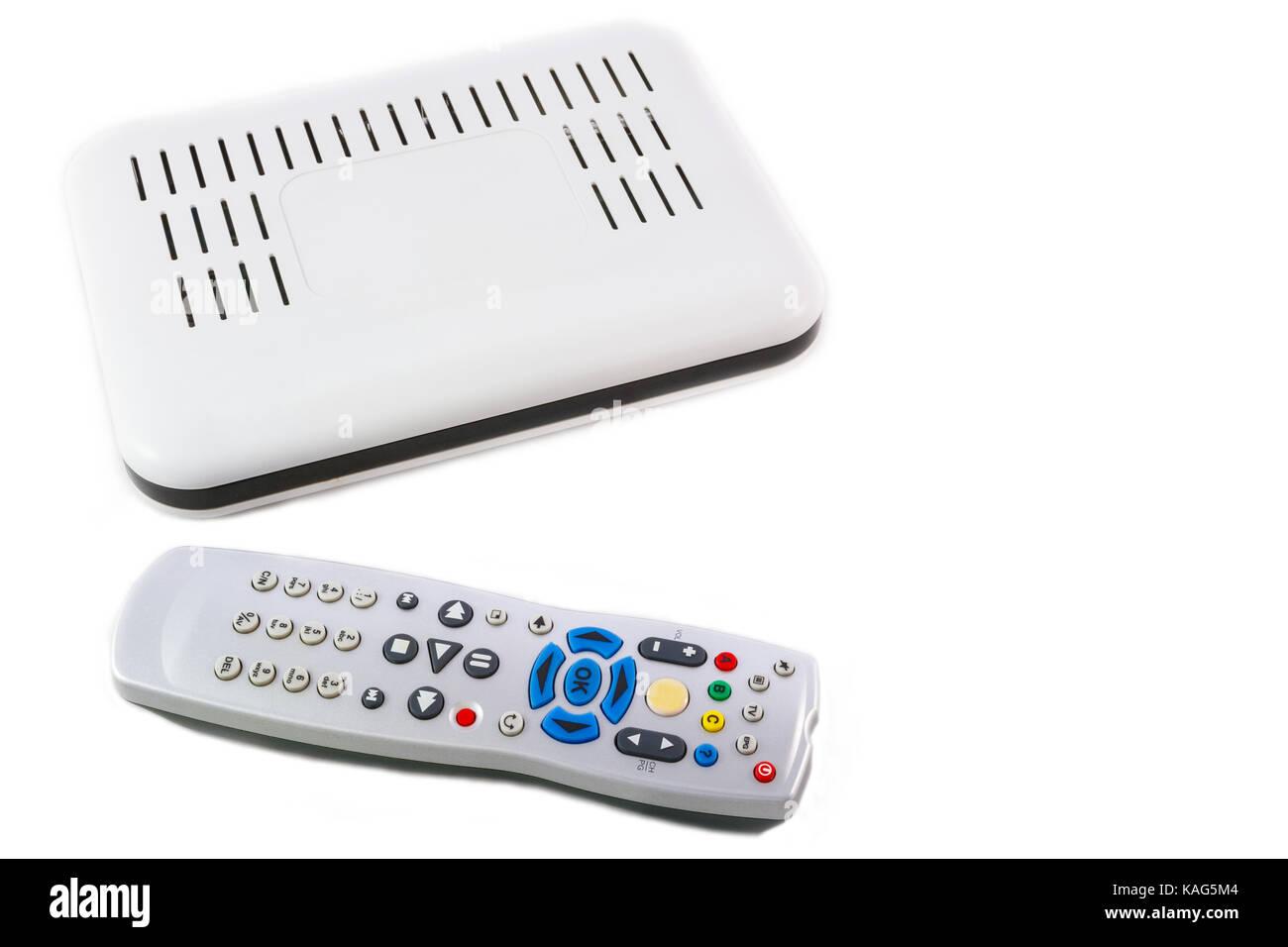 Telecommande Et Recepteur Blanc Pour Internet Tv Set Top Box Sur
