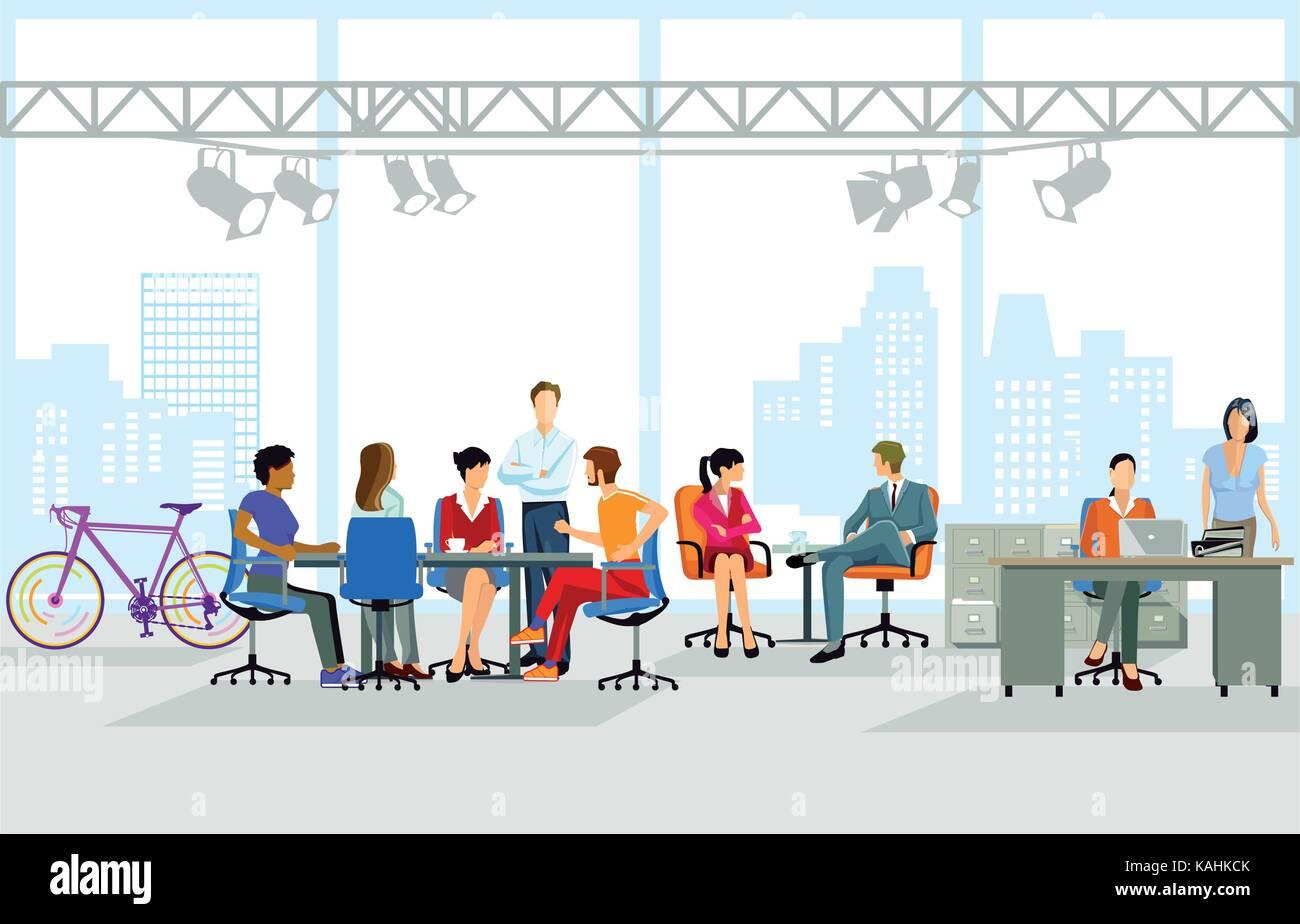 Travail de bureau, groupe de personnes au travail, illustration Illustration de Vecteur