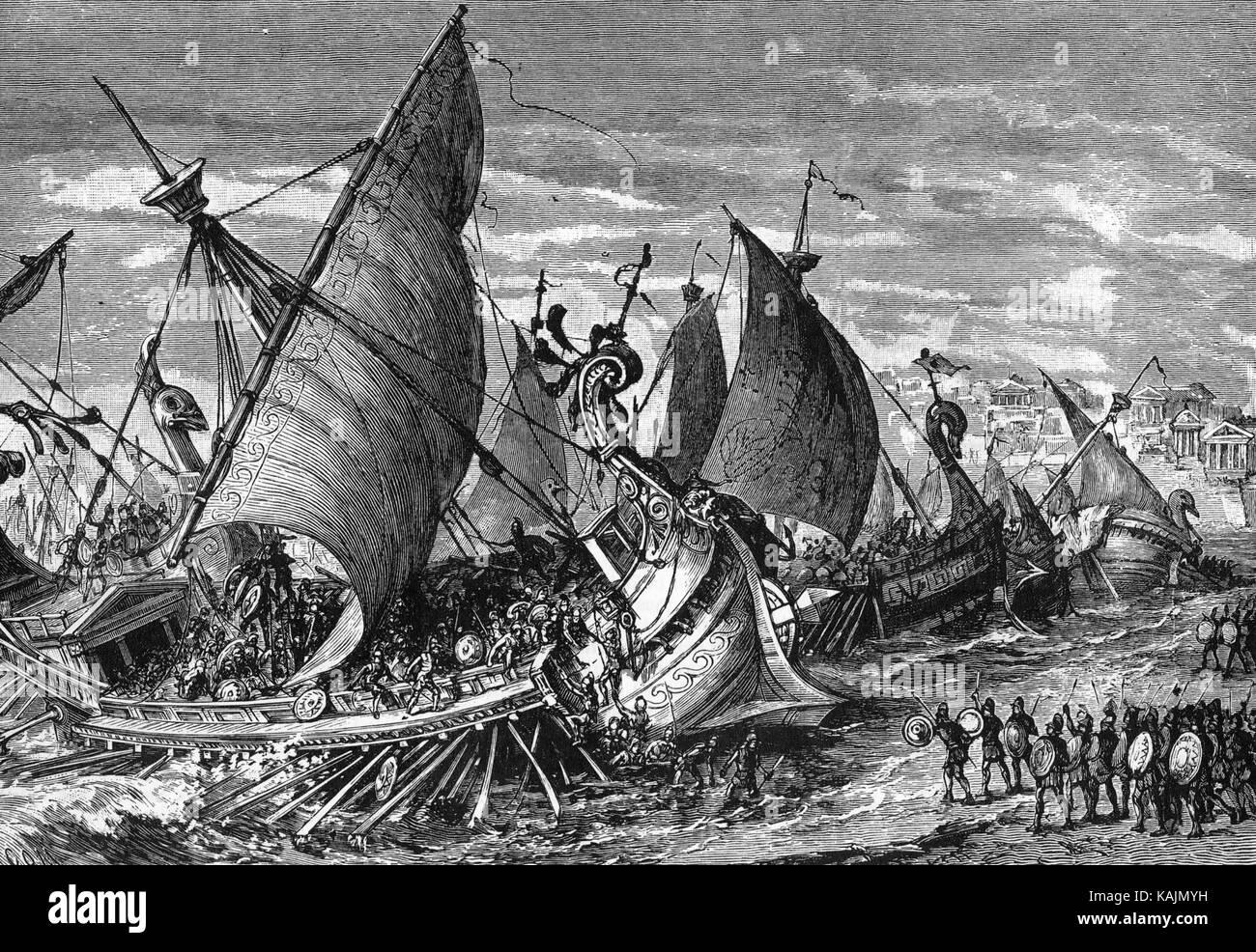 Guerre du Péloponnèse 19e siècle l'inscription de l'une des actions au cours de la bataille de Syracuse en 413 b>c> Banque D'Images