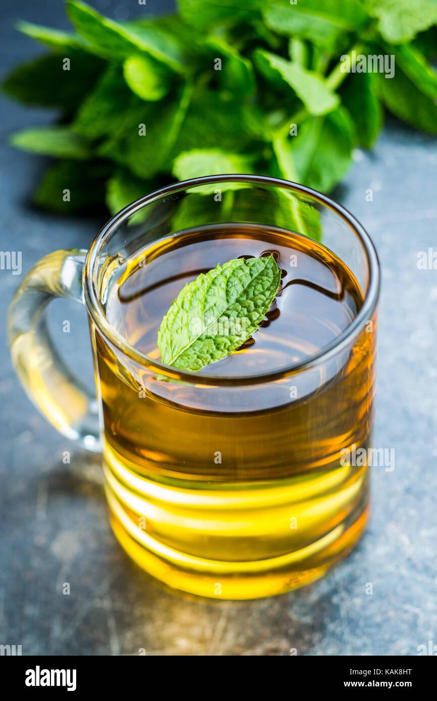 Thé à la menthe délicieux. Les feuilles de menthe et tasse de thé. Photo Stock