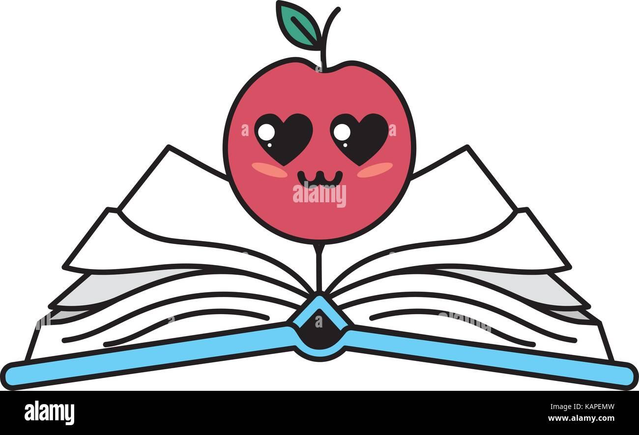 Kawaii Cute Apple Offre Plus De Livre Ouvert Vecteurs Et
