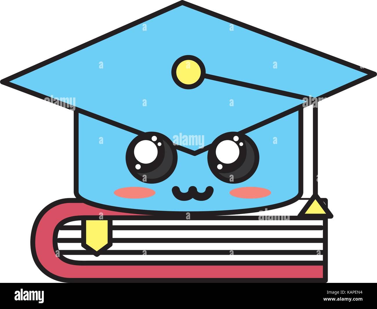 Kawaii Cute Offre Plus De Diplomes Cap Livre Fermer Vecteurs