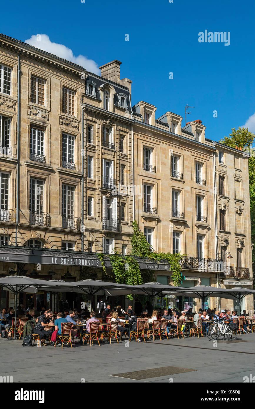 Le cafe francais, Place Pey Berland, Bordeaux, France Photo Stock