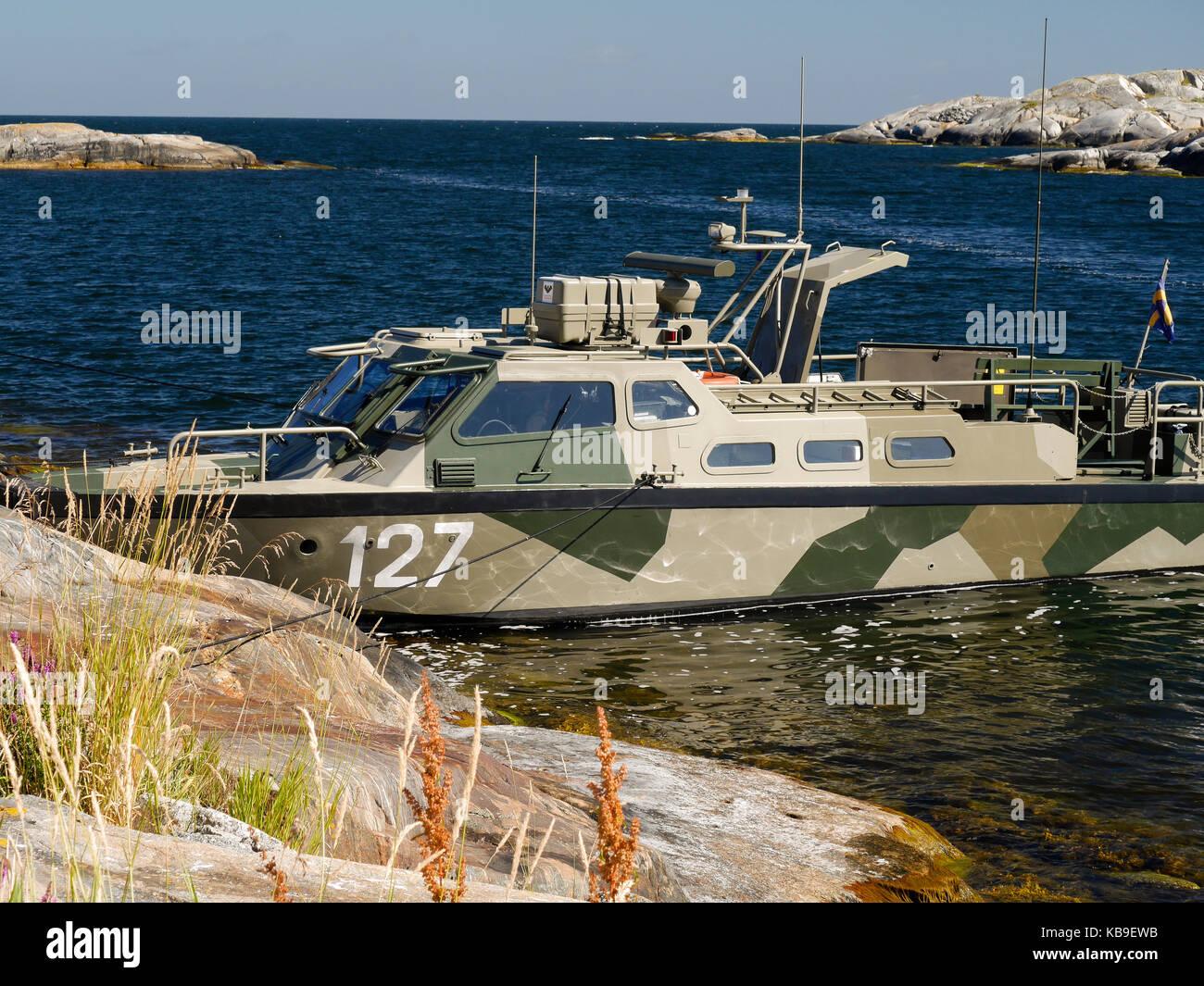 Stridsbåt 90 à Söderarm dans l'archiplago de Roslagen, à l'extérieur de Räfsnäs, Gräddö, Rådmansö au nord de Stockholm, Uppland, Suède, Scandinavie, Europe. Banque D'Images