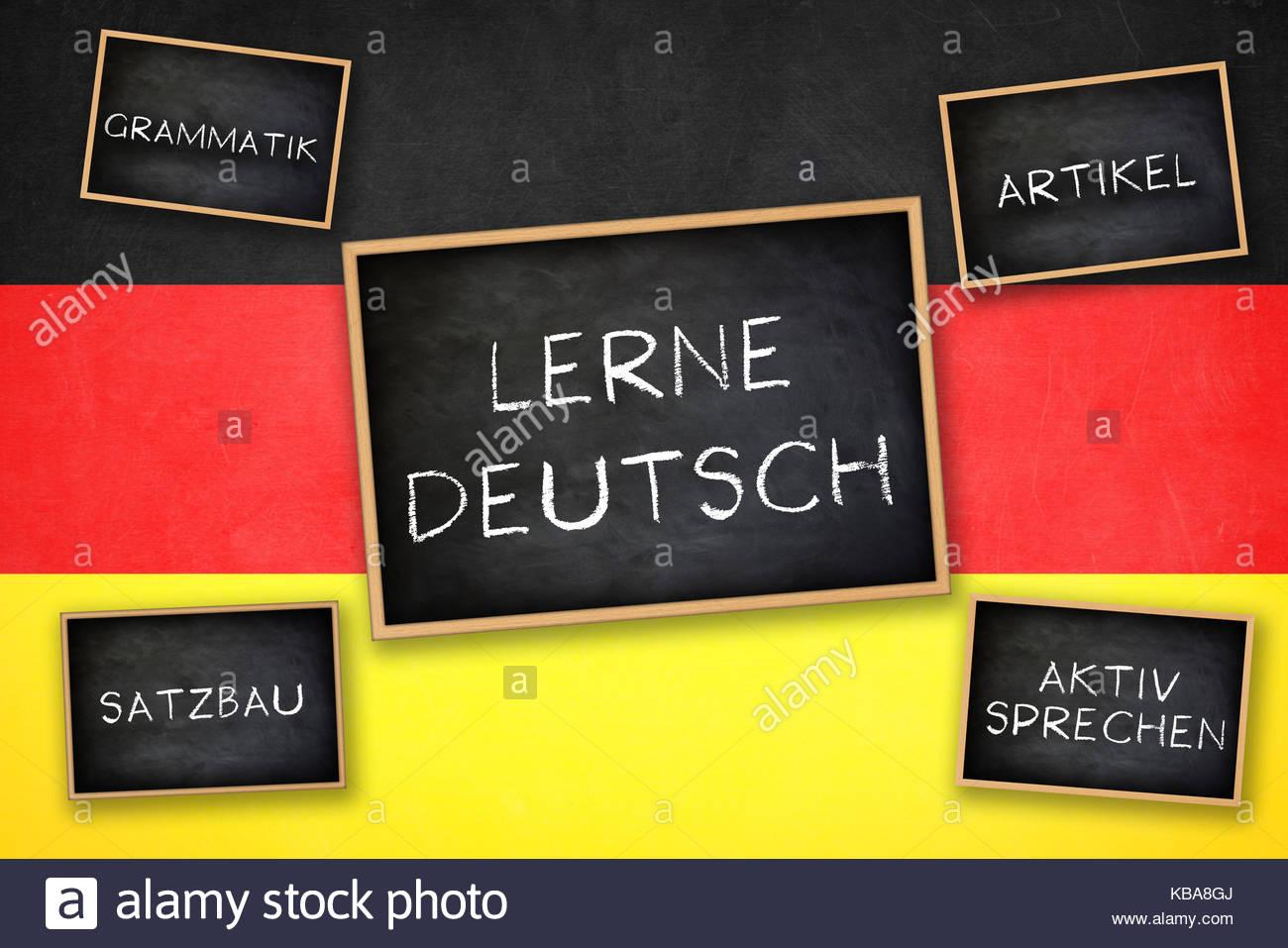 Apprendre l'Allemand - Grammaire substantifs verbes parlant - Pratique Photo Stock