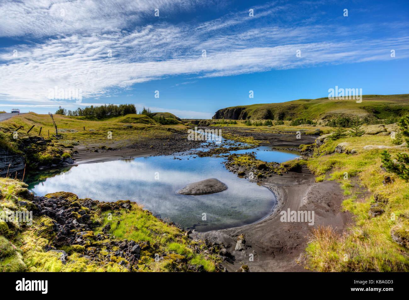 Journée ensoleillée dans le sud-est de l'islande Photo Stock