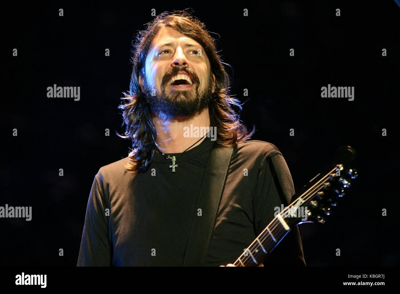 Dave Grohl, en live avec les Foo Fighters, V2007, Hylands Park, Chelmsford, 18 août 2007 Banque D'Images