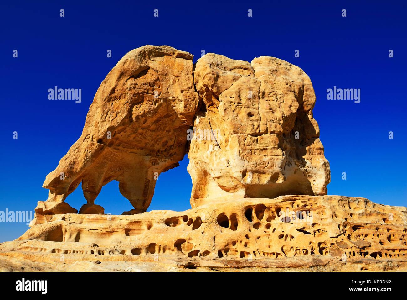 Roche de l'éléphant en dehors de Petra, Wadi Musa, Jordan Photo Stock
