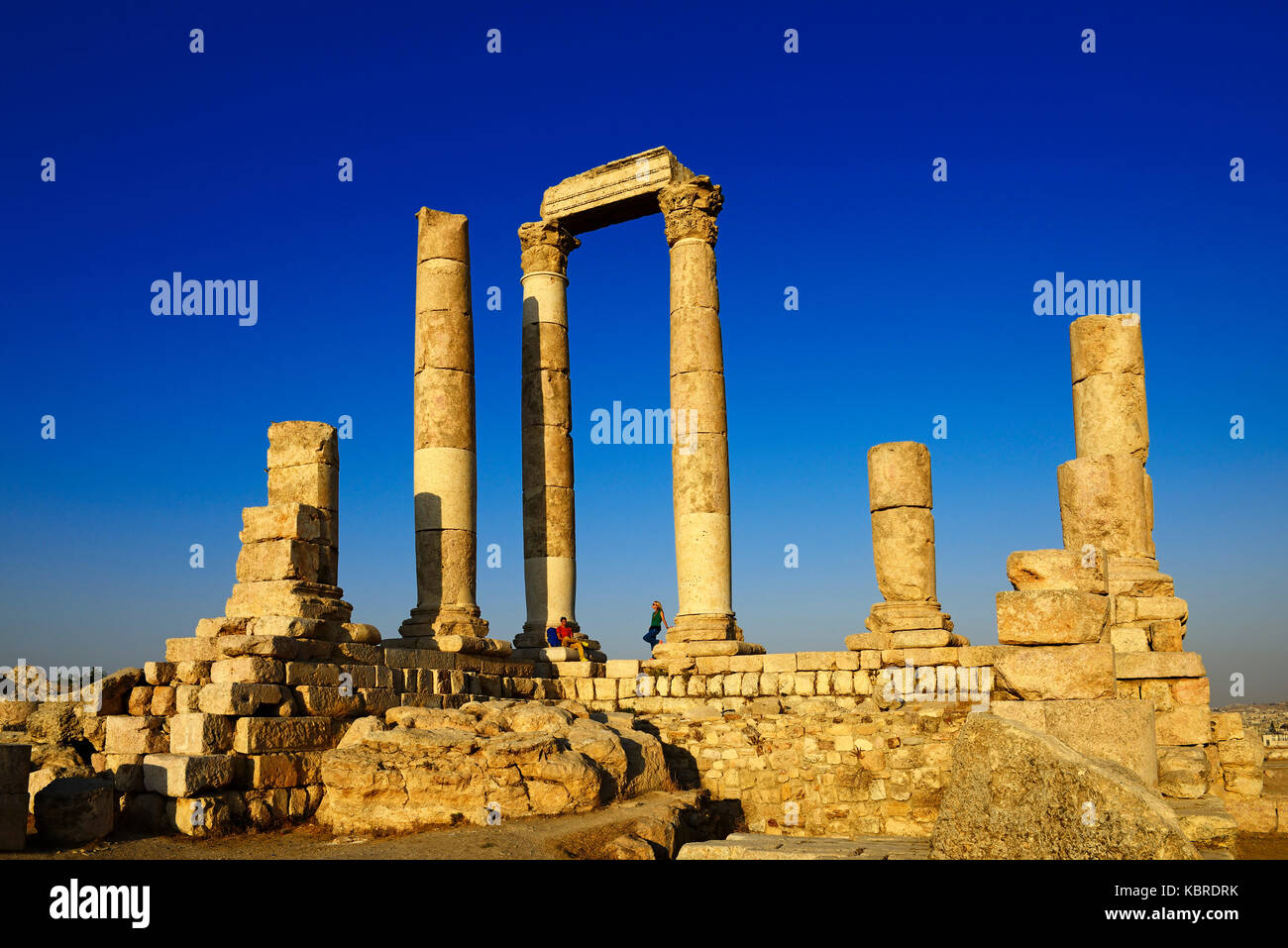 Temple d'hercule à la citadelle, l'ancienne cité romaine de Philadelphie, Amman, Jordanie Photo Stock