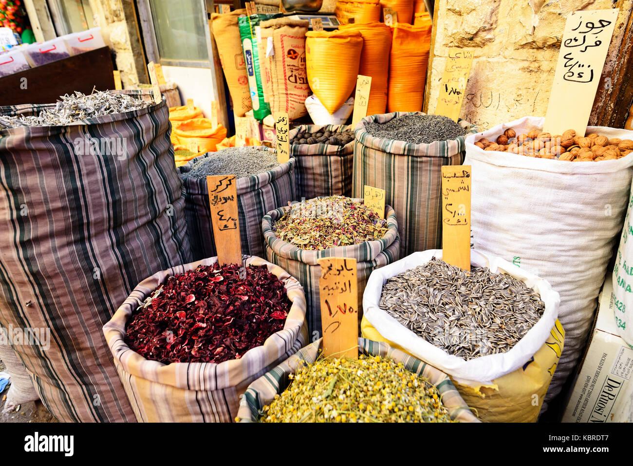 Les épices au marché, Amman, Jordanie Photo Stock