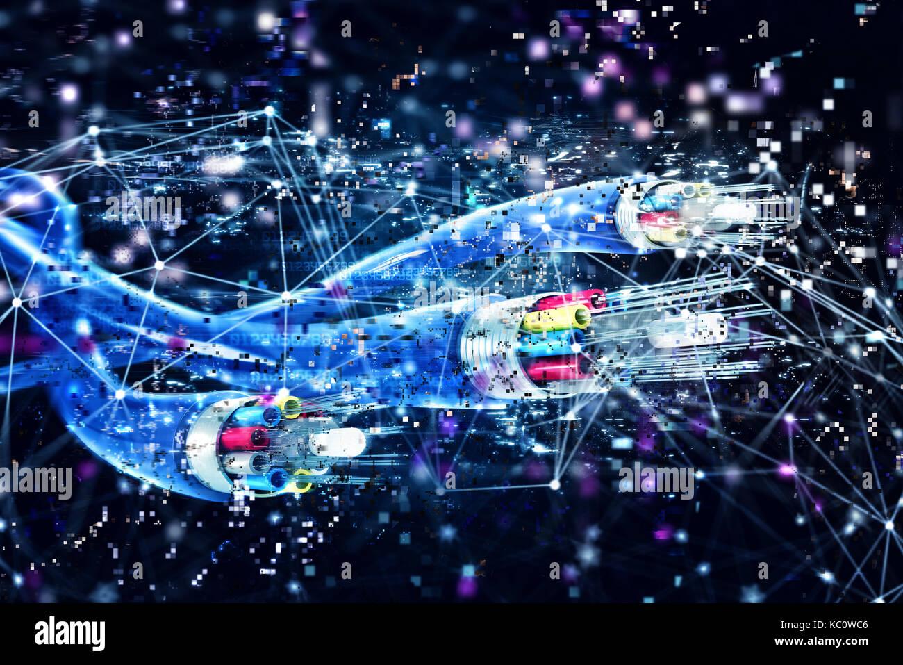 La liaison avec la fibre optique. concept de l'internet rapide. 3D render Banque D'Images