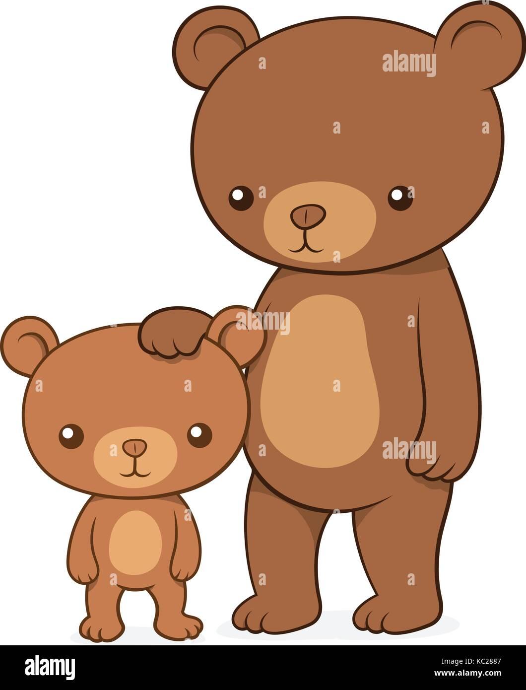 Ours Brun Avec Son Petit Ourson Teddy Debout Avec La Mère De