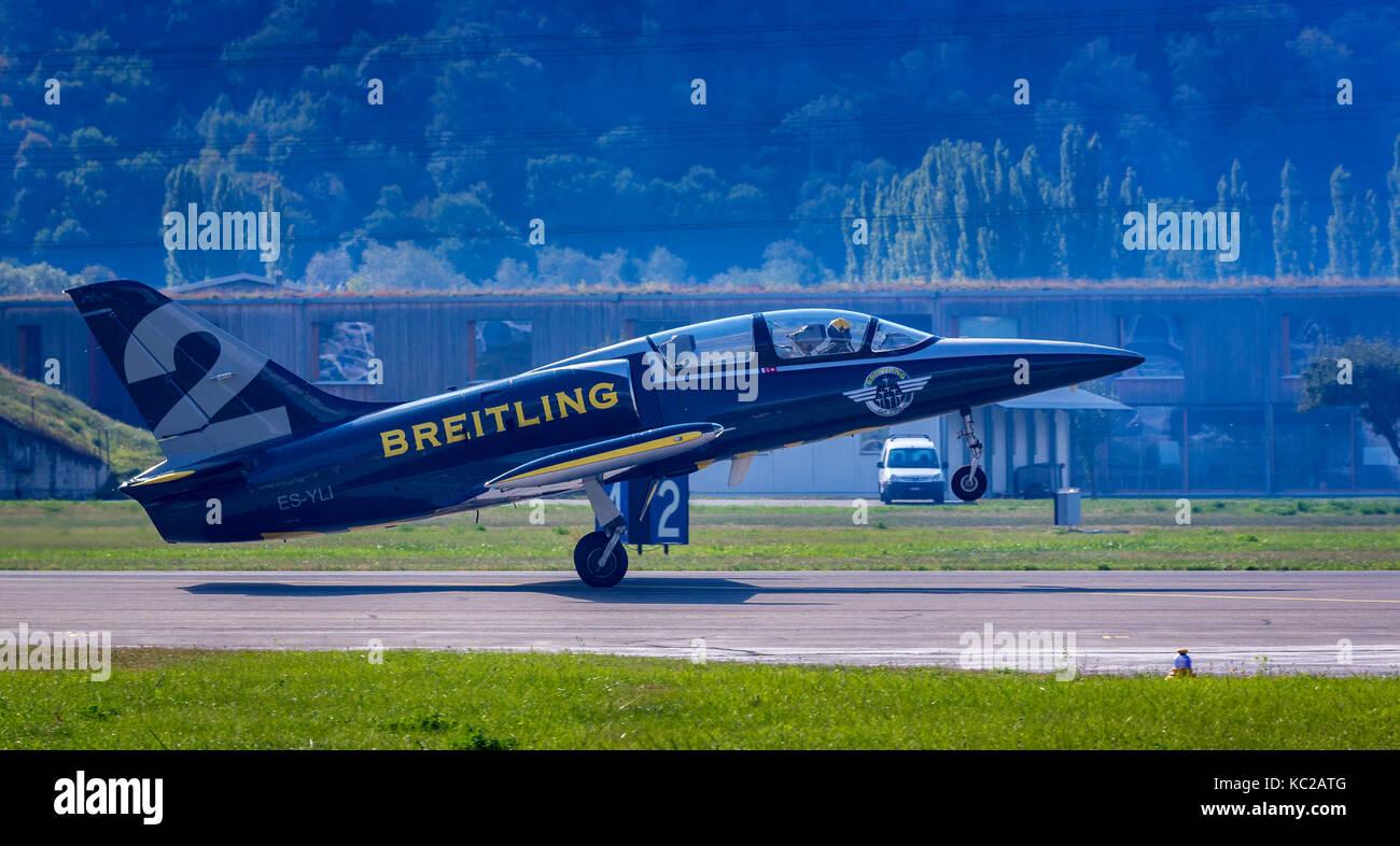 Breitling Jet Team, L 39 Albatros pendant le décollage, Sion Airshow, Sion, Valais, Suisse Banque D'Images