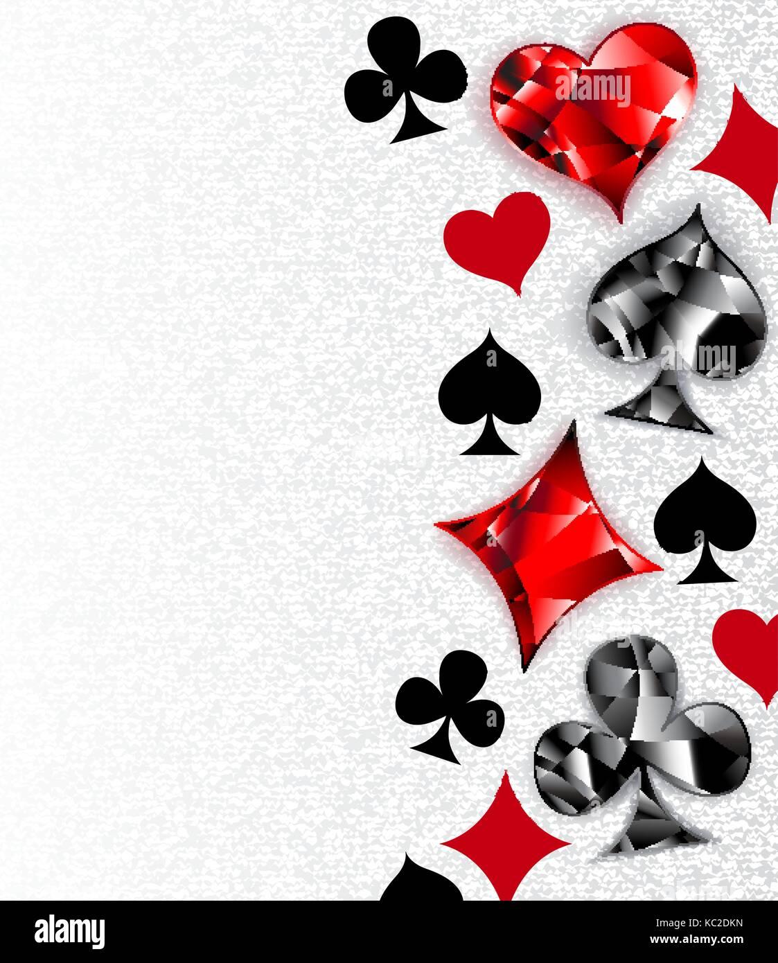 Fond texturé, gris avec des cartes à jouer polygonales. Symboles Symboles de cartes à jouer, cœur, Photo Stock