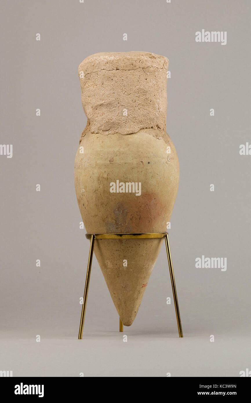 Pot avec base a souligné et scellé intact, ca. 2649-2100 av. Photo Stock