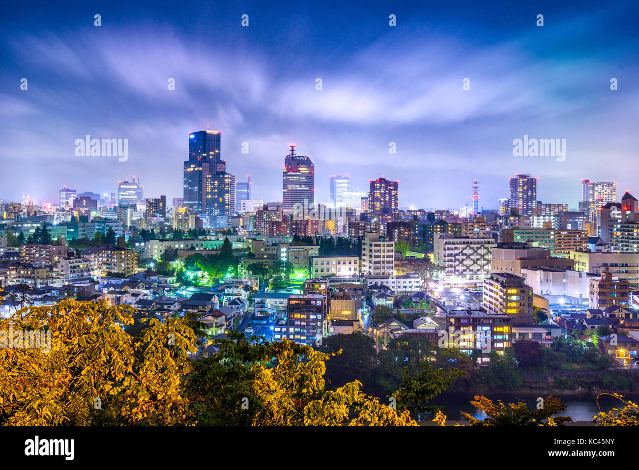 Sendai, Miyagi, Japon cityscape at night Photo Stock