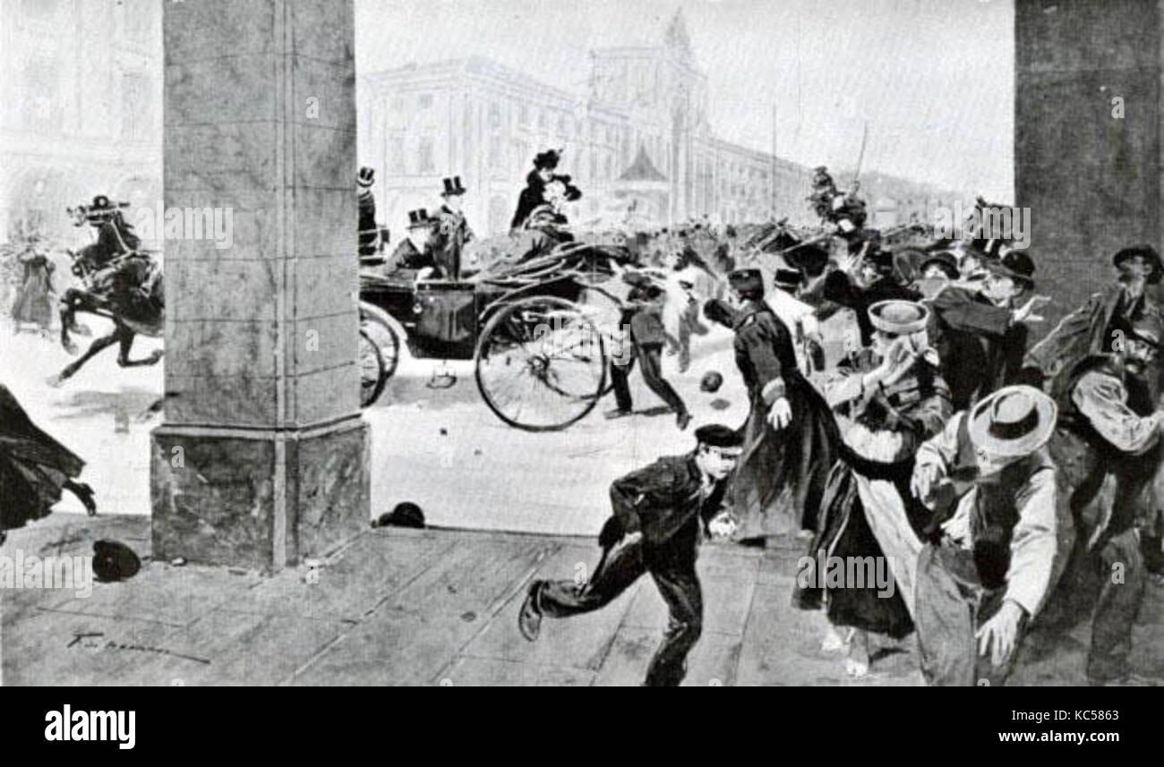 Haut en bas: le régicide de Lisbonne (1908), manuel ii's acclamation comme roi (1908) et la proclamation Photo Stock