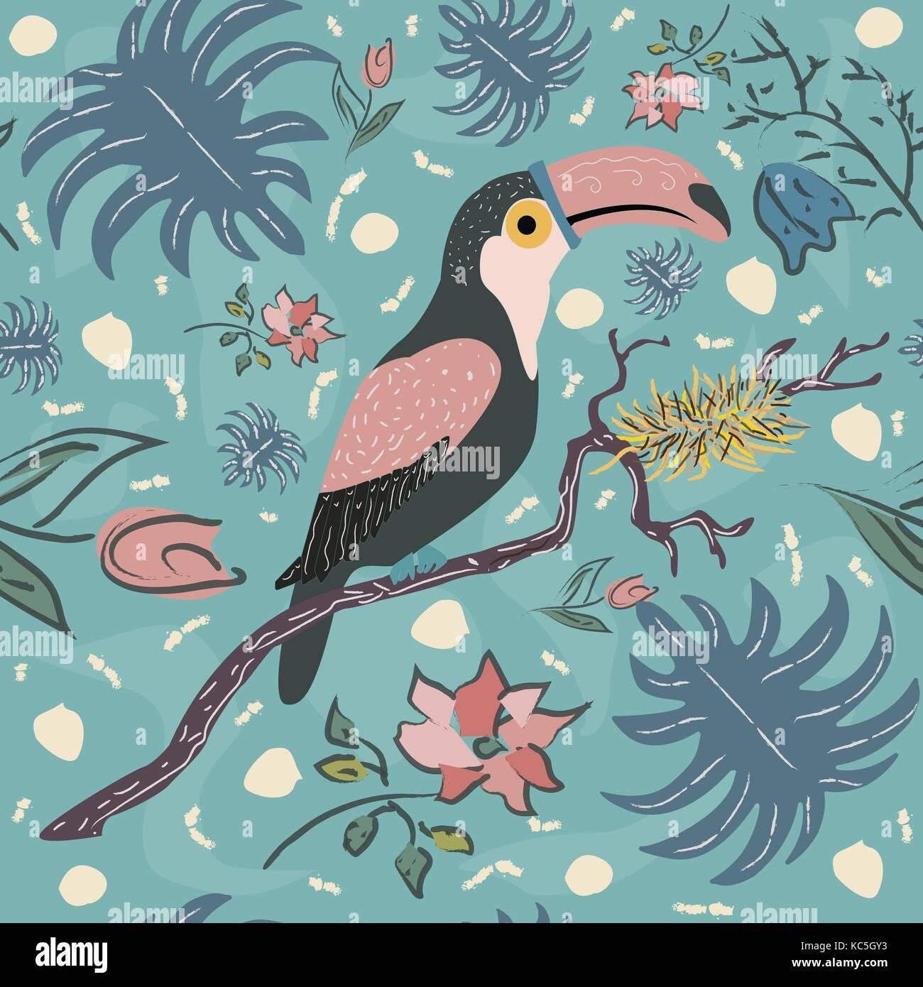 Toucan oiseau motif transparent. vector illustration Illustration de Vecteur