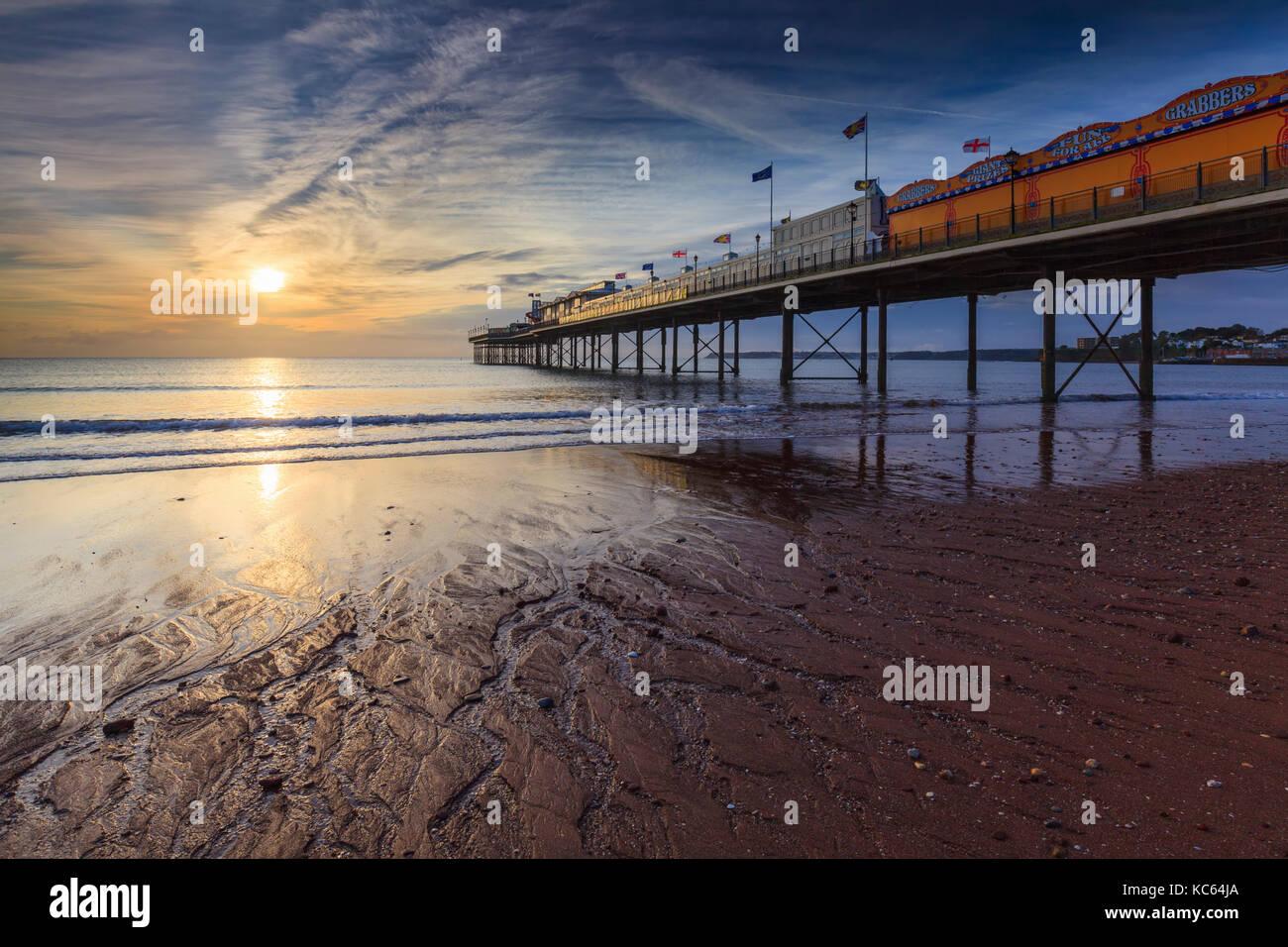 Paignton pier sur la côte sud du Devon Photo Stock