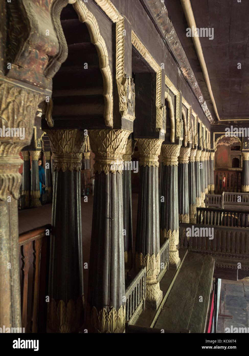 L'architecture en bois du palais d'été de Tipu Sultans, Bangalore Banque D'Images
