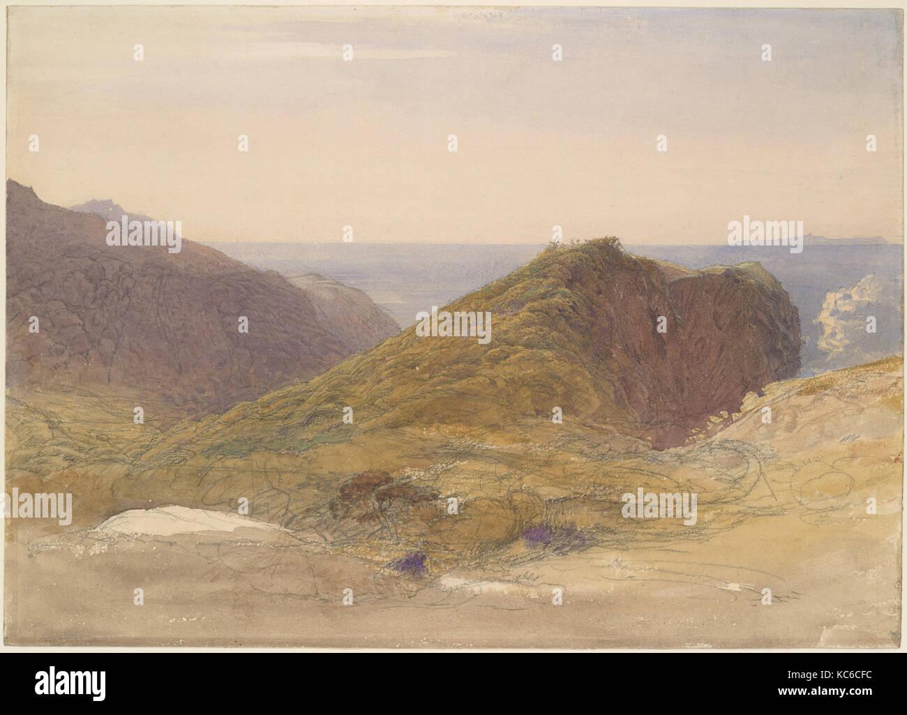 Sur la côte nord de l'île Devon Lundy, dans la Distance, Samuel Palmer, ca. 1835 Photo Stock