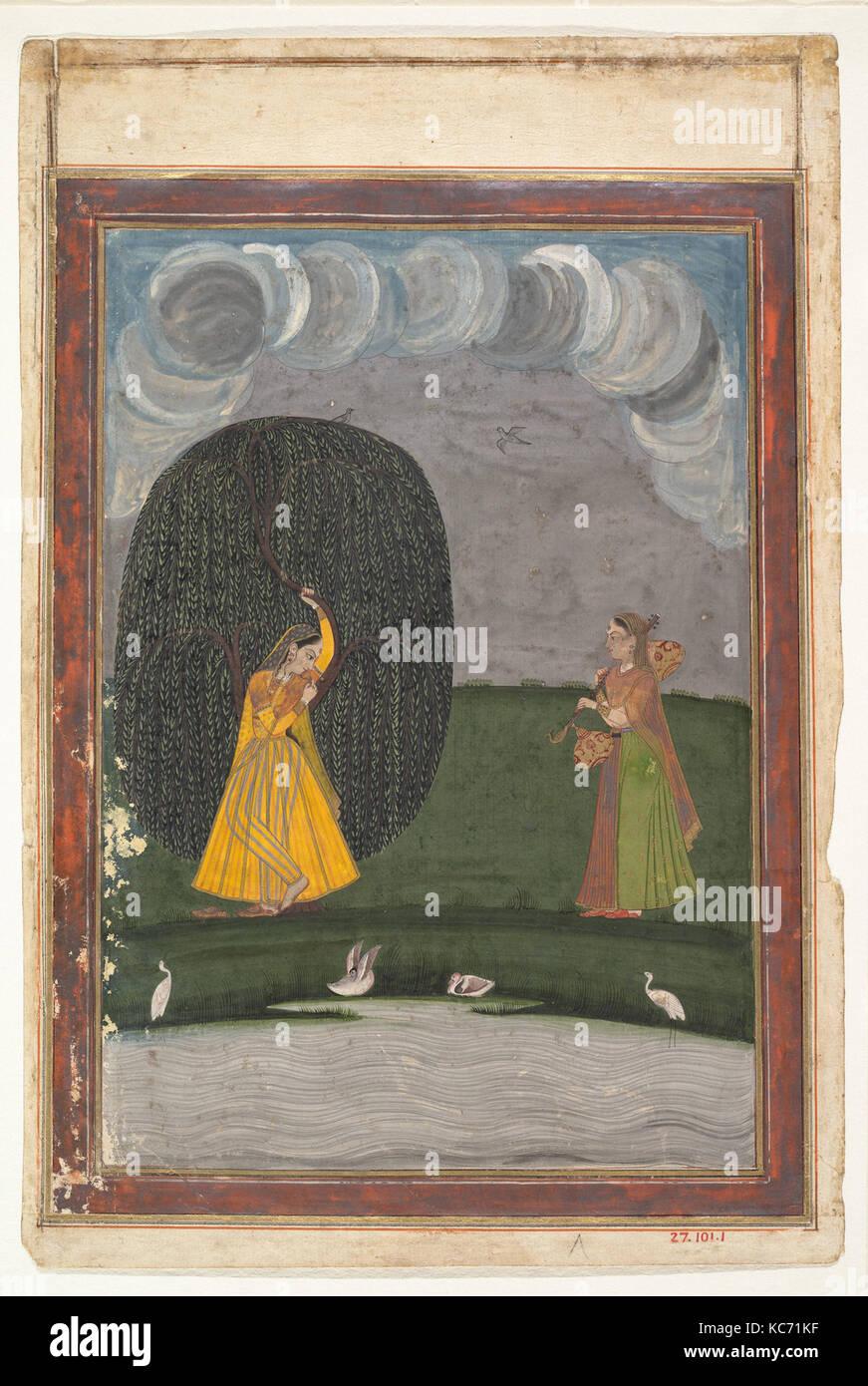 Illustration d'une série Ragamala (Guirlande de modes musicaux), fin du 18e siècle Photo Stock