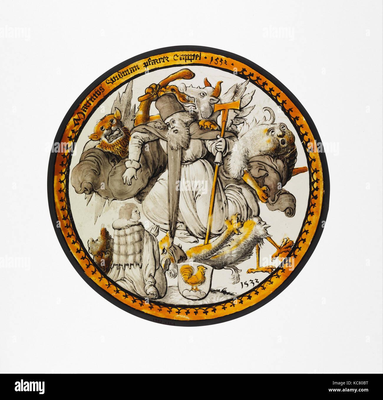Cocarde avec la Tentation de Saint Antoine, 1532, en Souabe, en allemand, en verre incolore, peinture vitreux et Photo Stock