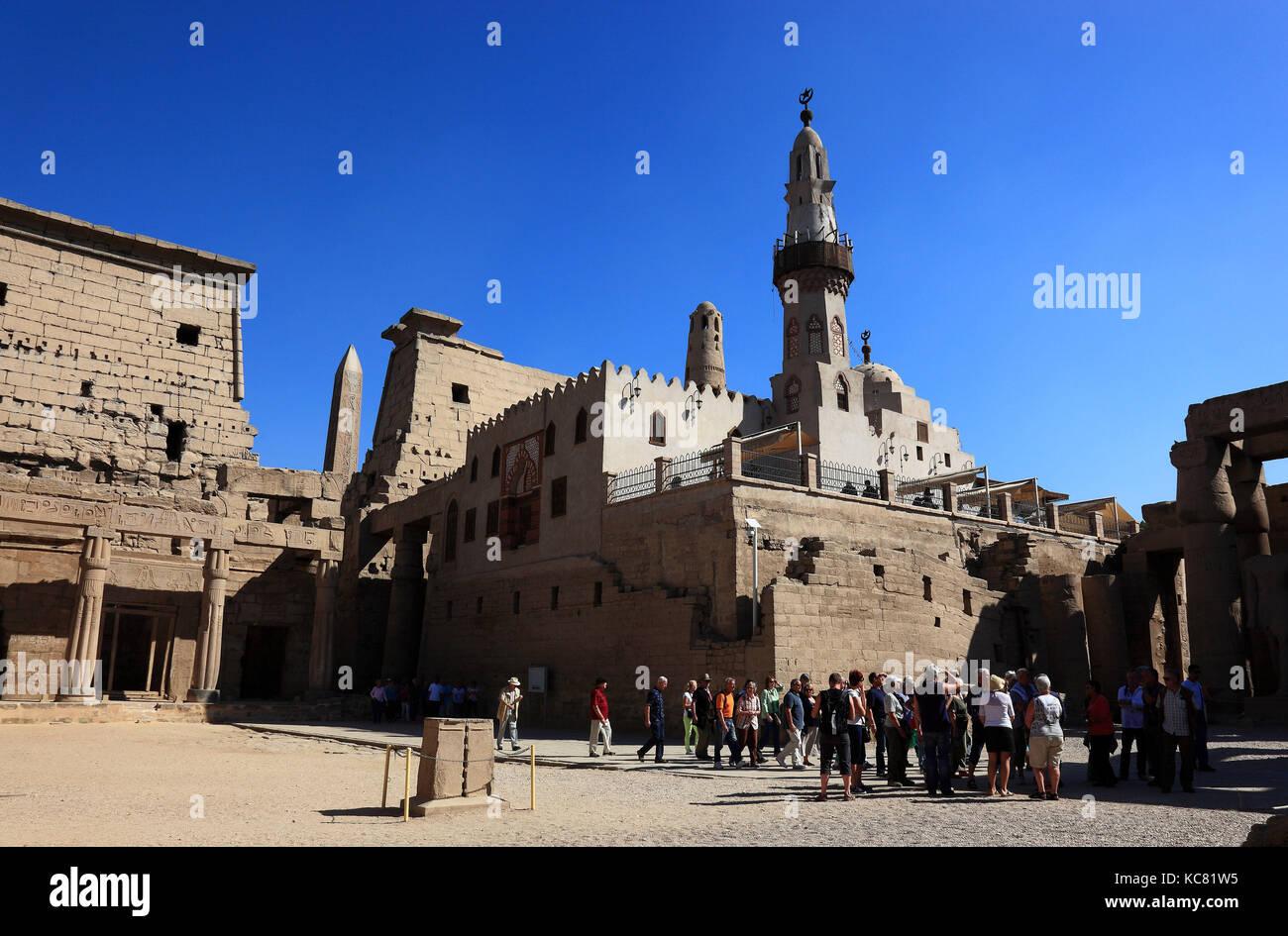 Le temple de Louxor de la mosquée Abou el-haggag, Afrique, la haute Égypte, l'UNESCO patrimoine mondial Photo Stock