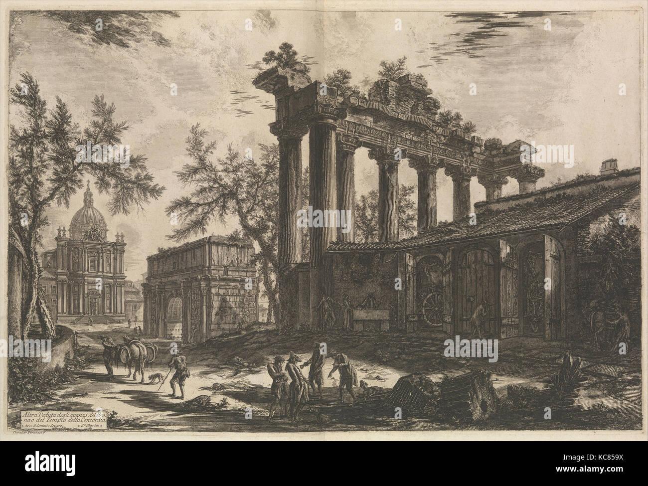 Une autre vue du reste du Pronaos du Temple de la Concorde le Temple de Saturne avec Arch of Septimius Severus Banque D'Images