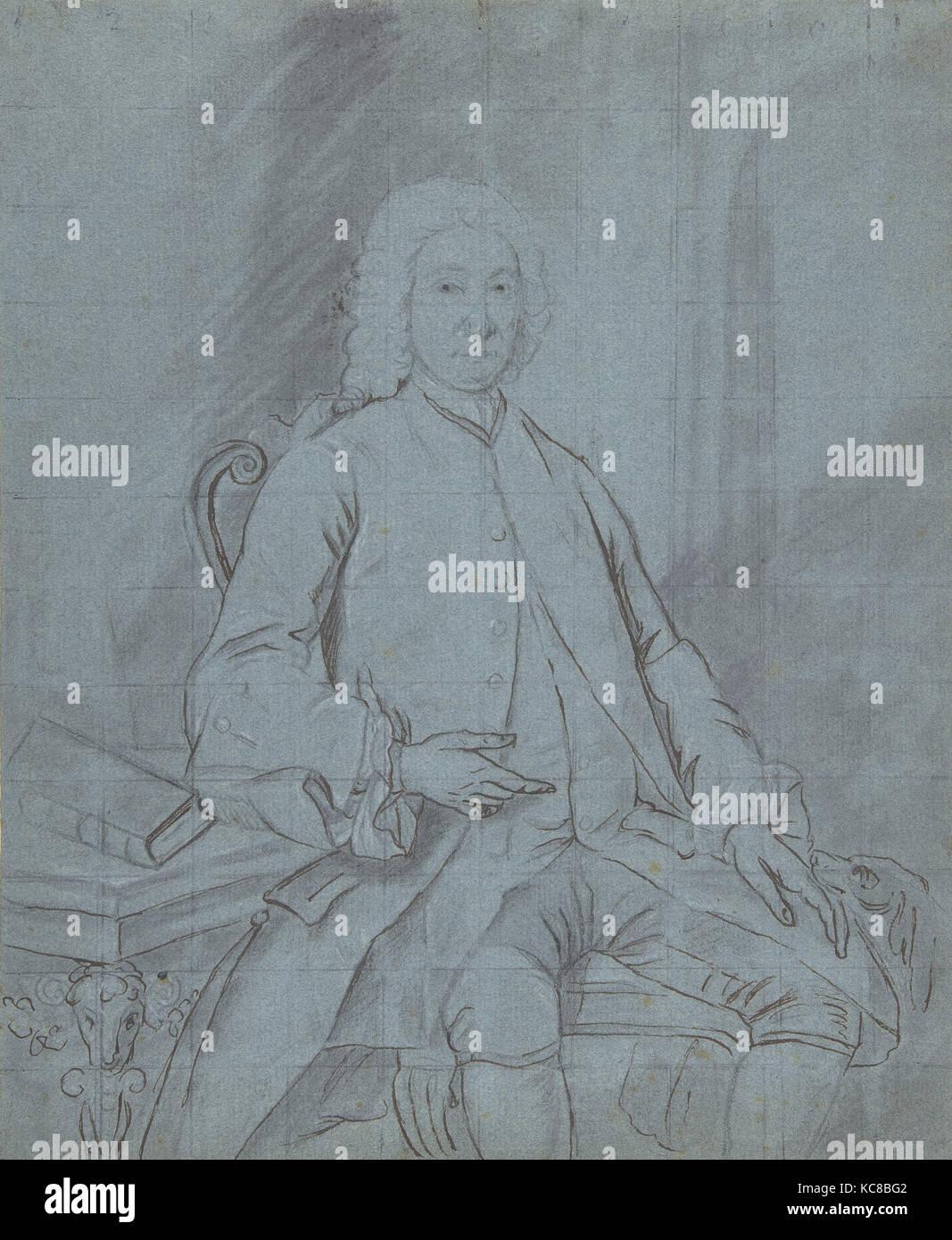 Étude de trois quarts Portrait en pied d'un homme assis à un bureau avec un chien, cercle de Joseph Photo Stock