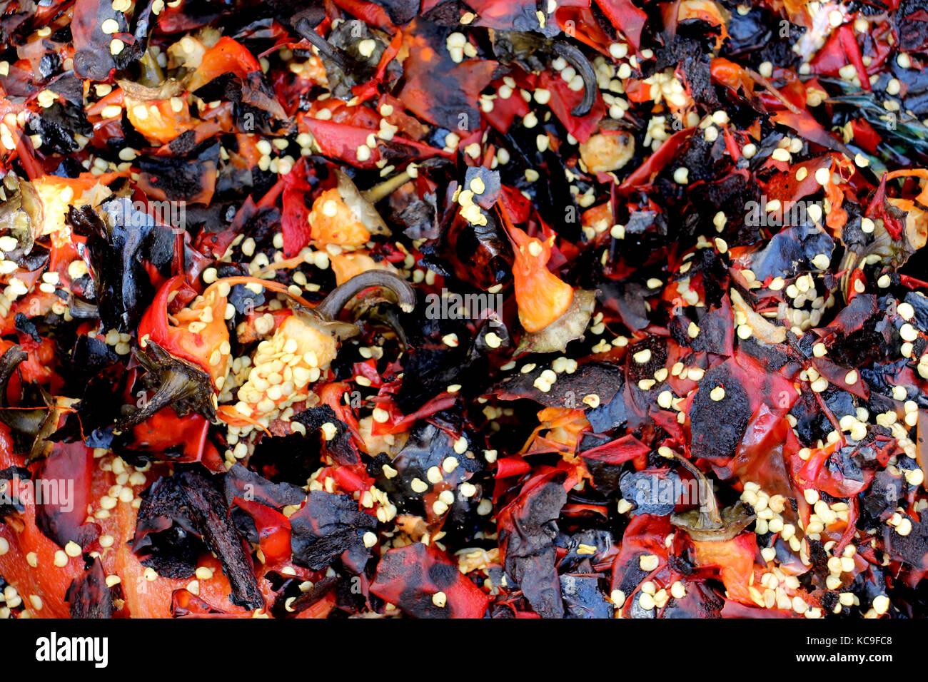 Vestiges d'un rouge rôti et nettoyé le paprika,image d'un Photo Stock