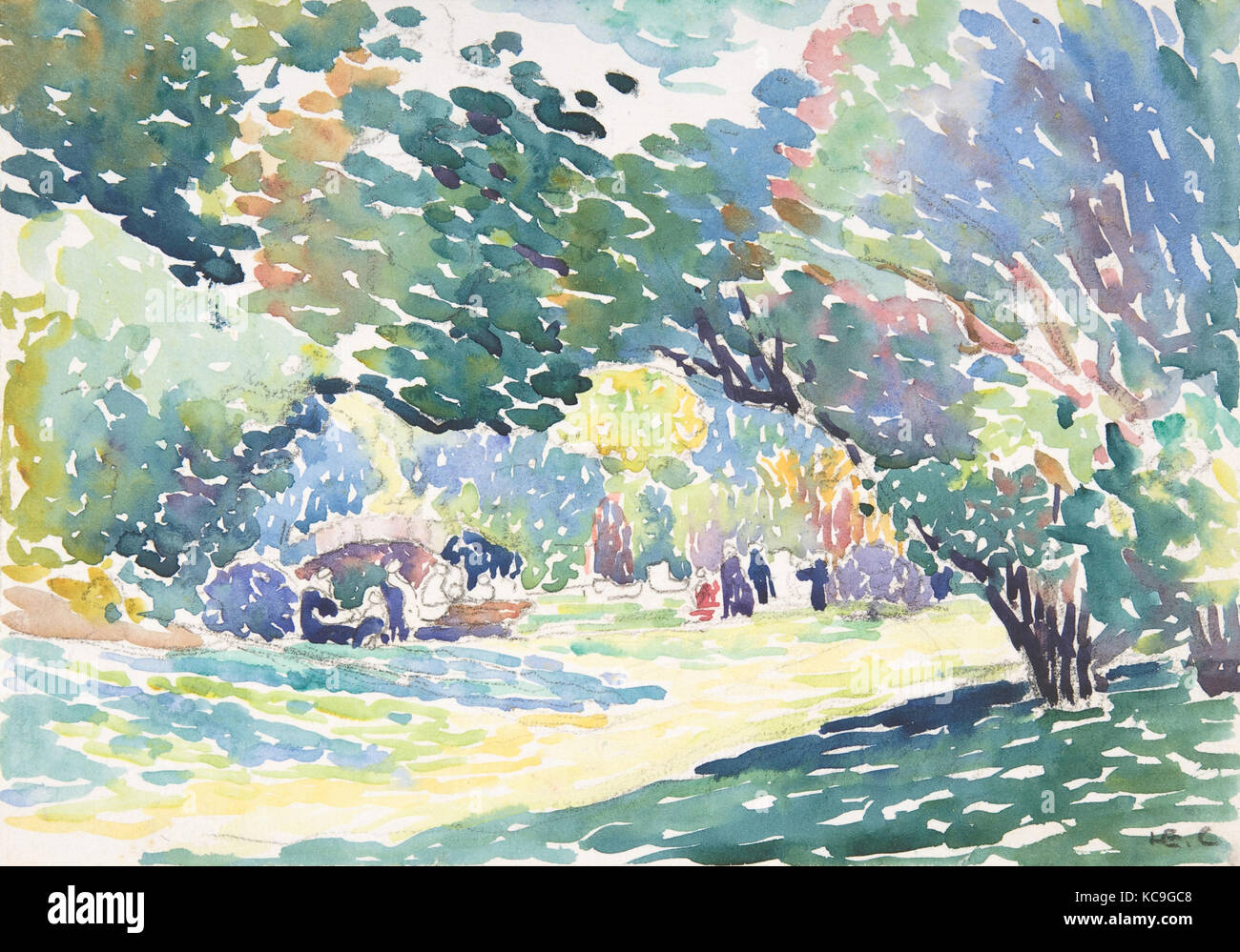 Paysage Ca 1904 Aquarelle Et Crayon Sur Papier Feuille 6 7 8 X