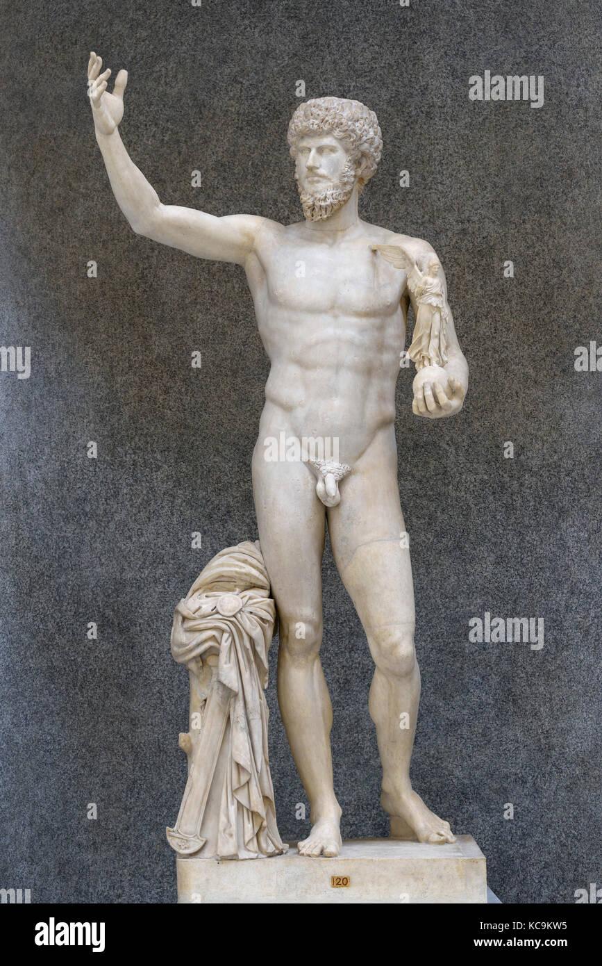 Rome. L'Italie. Statue de l'empereur romain Lucius Verus comme athlète victorieux, (161-169 A.D.), Photo Stock