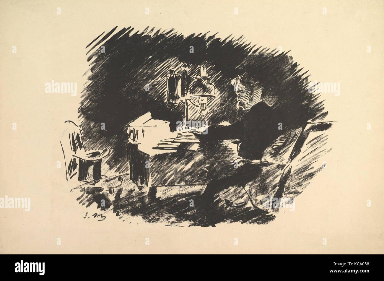 Une fois sur un morne minuit. Illustration pour le corbeau par Edgar Poe, Édouard Manet, 1875 Photo Stock