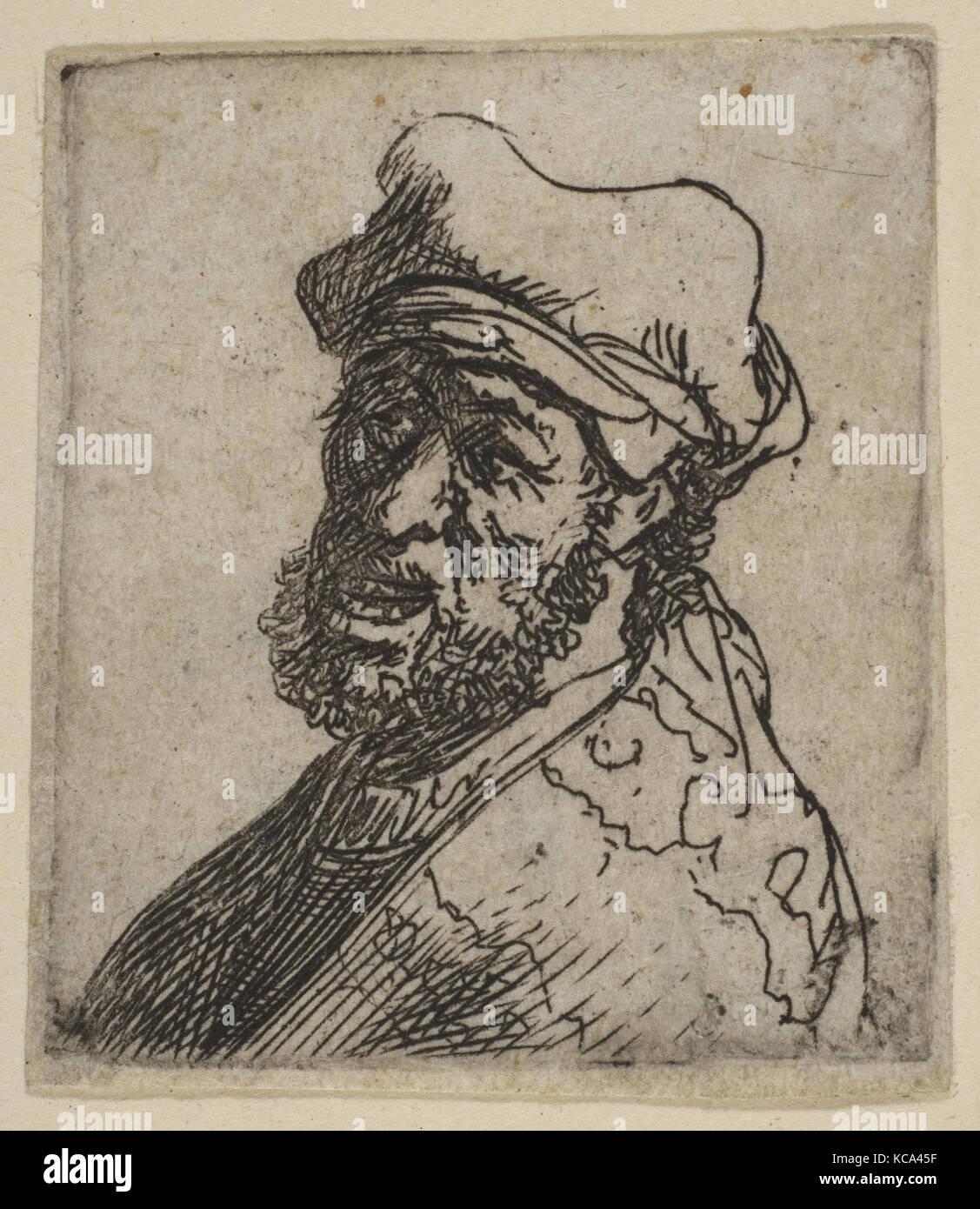 L'homme criant, trois quarts gauche: Buste, Rembrandt, ca. 1629 Photo Stock