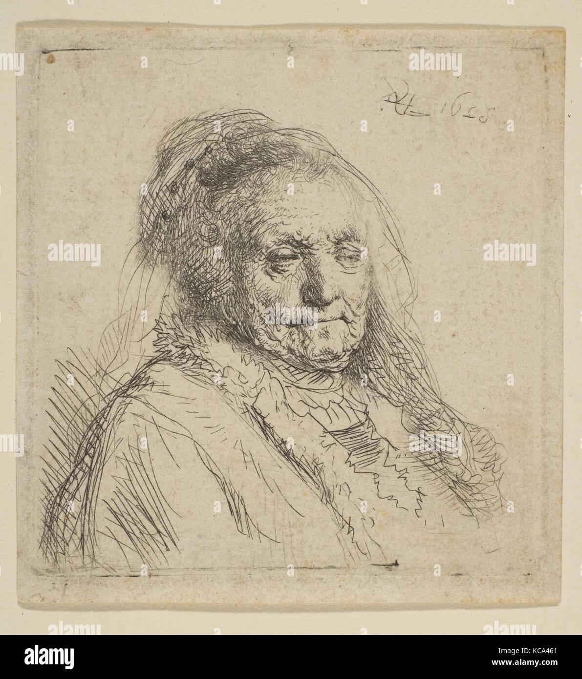 Mère de l'artiste: Tête et buste de trois quarts à droite, Rembrandt, 1628 Photo Stock