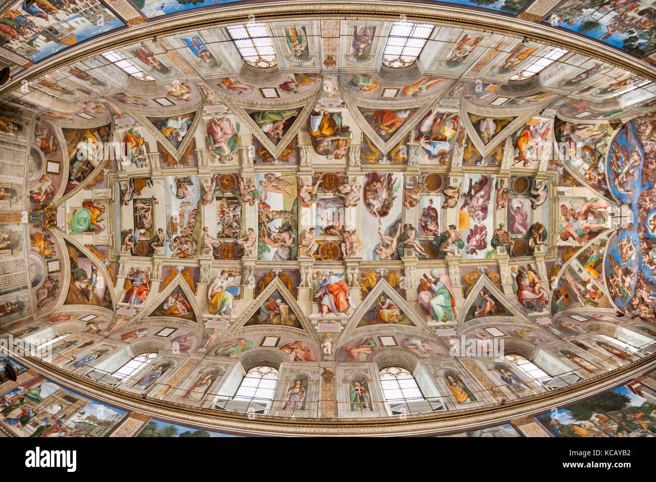 Plafond De La Chapelle Sixtine Au Vatican A Rome Banque D Images