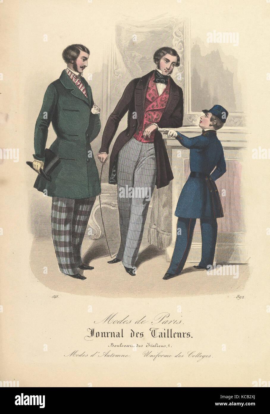 892 à partir de modes de Paris, Journal des tailleurs, anonyme, le français, 19e siècle, 1848 Photo Stock